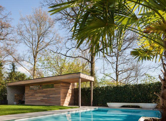 tuinberging in ceder, tuin, berging, hok, strak modern
