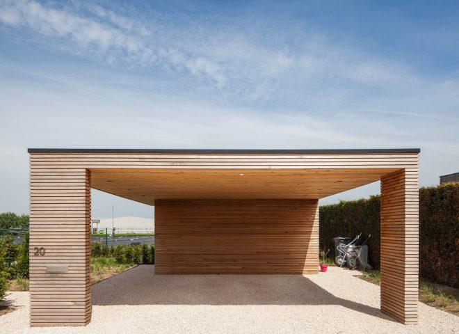 tuinberging en carport in ceder, tuin, berging, hok, modern, strak
