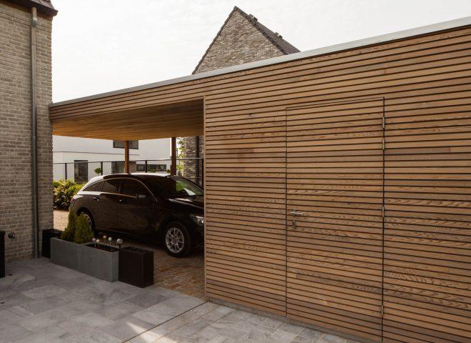 tuinberging en carport in ceder, tuin, berging, hok, strak, modern